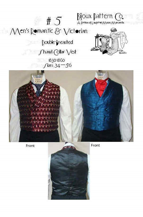 B5 -  Download -Men's Victorian Double Breasted Shawl Collar Vest