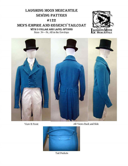 #122 Download - Men's Regency Tailcoat with no waist seam 3 Collars and Lapels