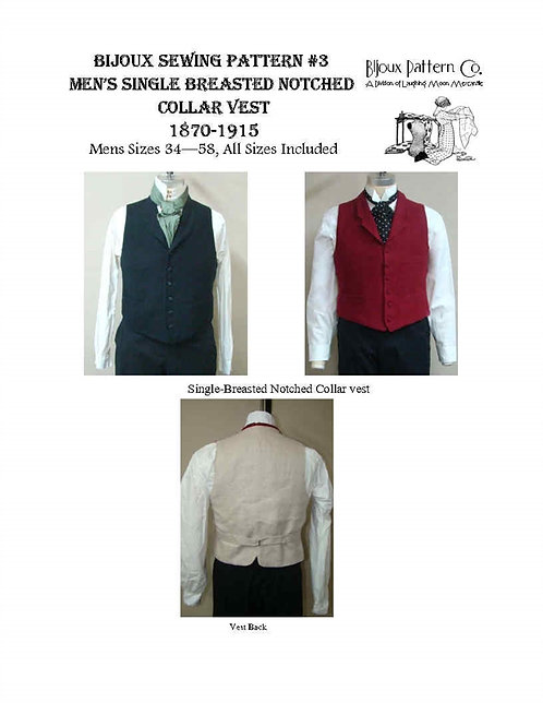 B3 - Download -Men's Victorian Notched Collar Vest - 1870 -1915