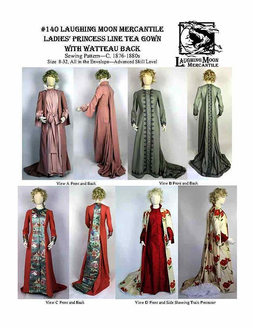 #140 Download - Tea Gown with Princess Line and Watteau Pleat