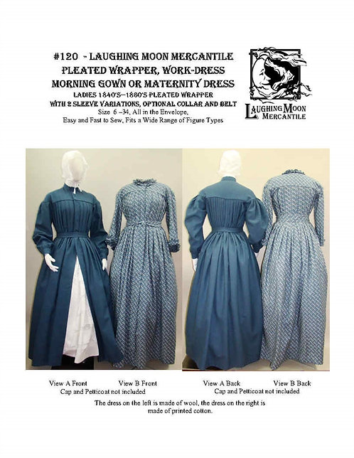 #120 Download - Ladies' Pleated Wrapper, Work Dress, Morning Gown, Maternity
