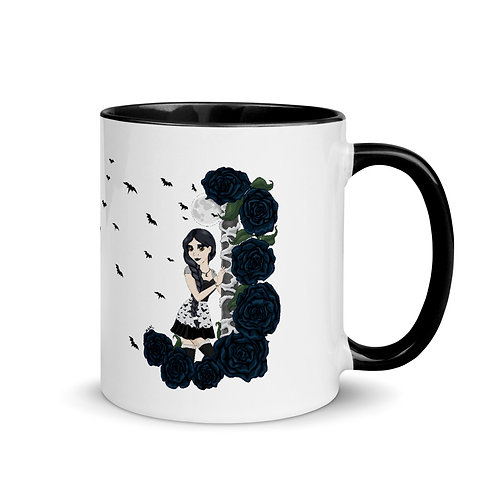 Bats and Roses - Mug with Color Inside