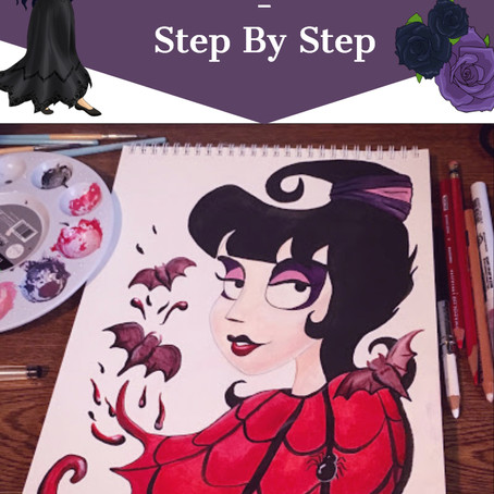 Water Color Painting - Step By Step of Lydia Deetz