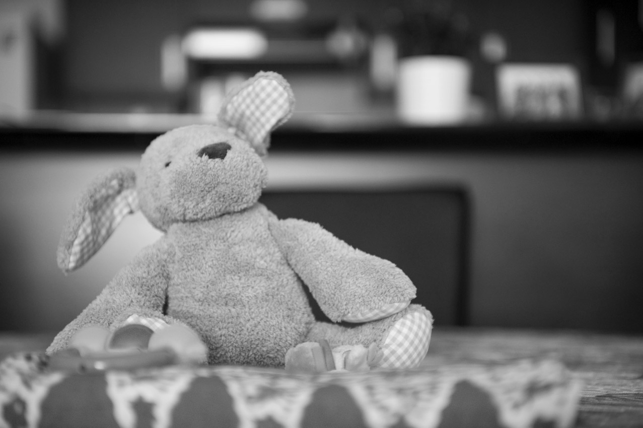 First teddy bear resting on a table.