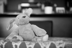 First teddy bear resting on a table.