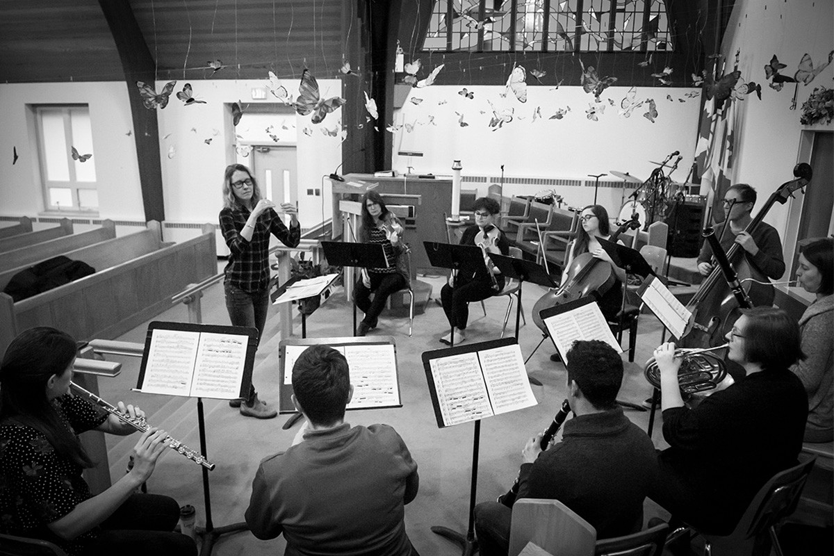 The Watershed Ensemble rehearsal.
