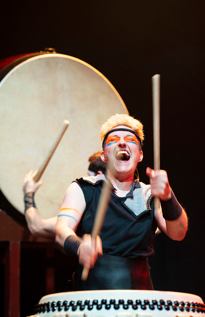 Mugen Taiko Drummers performing a show Tribe.
