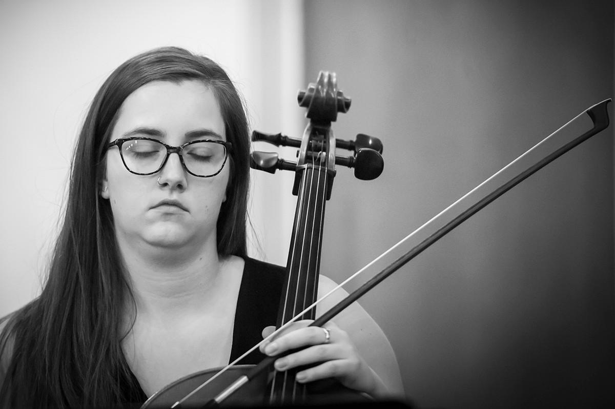 Violinist playing a violin.