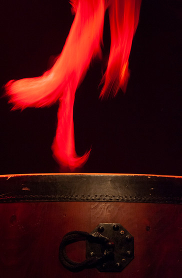 Taiko drum on fire.