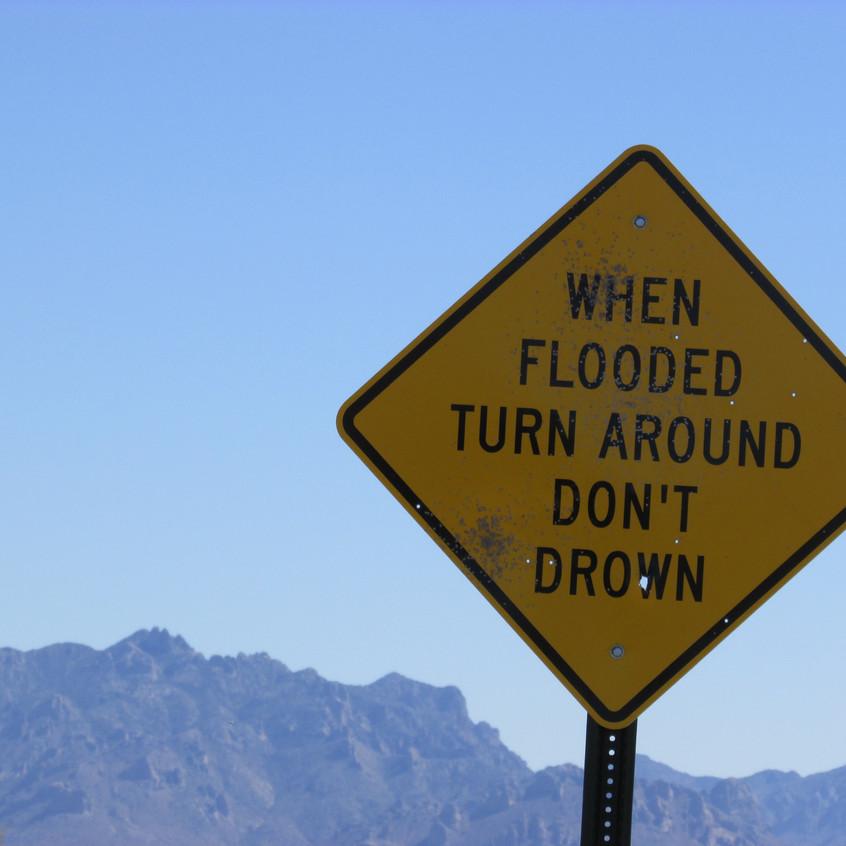Near Floridas Flood Sign 2016