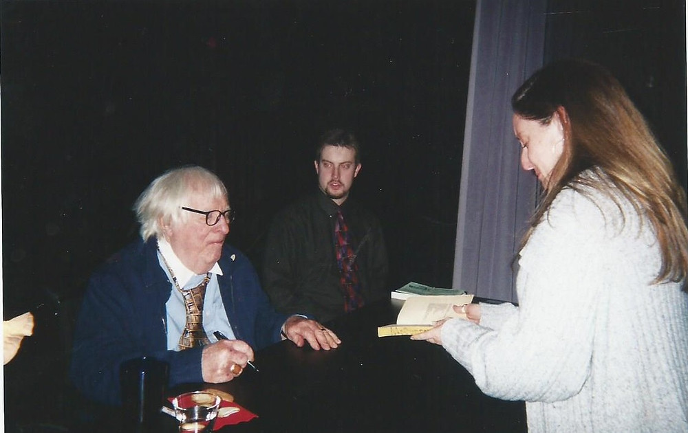 April 2005. I wanted Ray to sign my copy of Dandelion Wine. I sobbed. His PA's face!