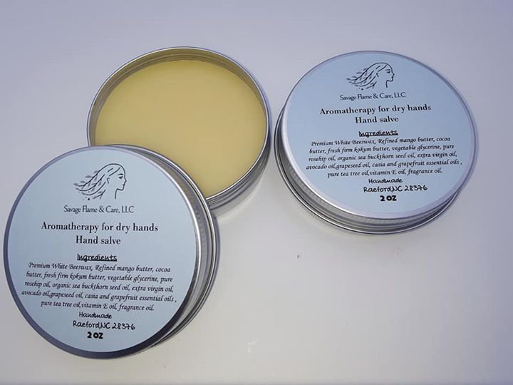 Aromatherapy hand salve for dry hands 2 oz tins