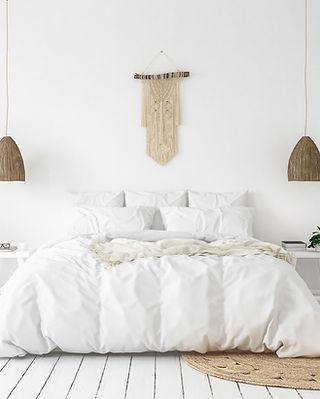 白い寝室のコンセプト