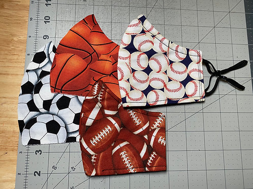 3 layered Sports face masks w/ adjustable ear straps