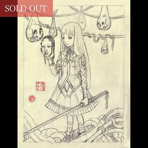 """Drawing """"Masked Samurai -お面侍ー """""""