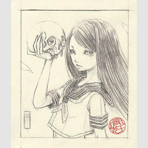 """Mini Drawing """"Skull Girl"""""""