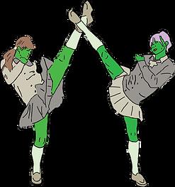 drawing of vegan skincare girls practicing kung fu