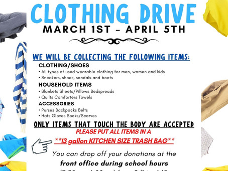 Class of 2021 Spring Clothing Drive