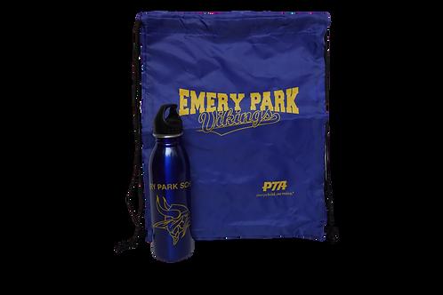 Drawstring Backpack + Water Bottle