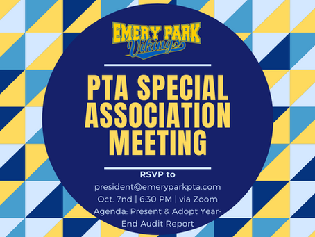 Emery Park PTA Special Association Meeting on October 7th 2021