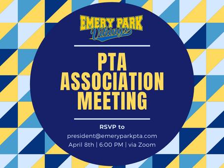 PTA Association Meeting April 8th 2021