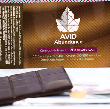 Edibles logo and Chocolate bar packaging