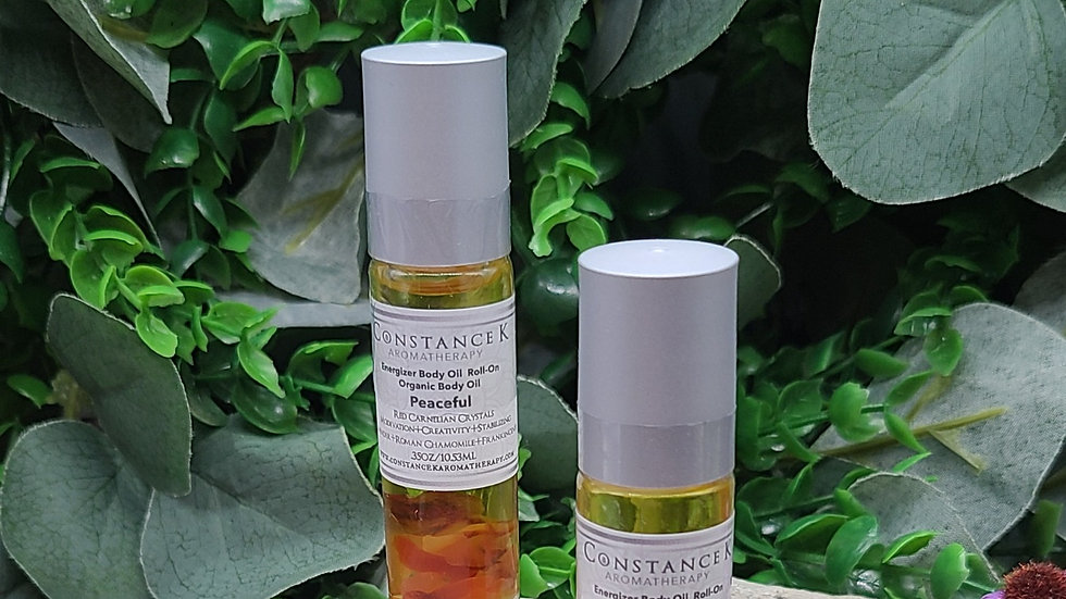 Energizer Roll-On Body Oil With Organic Peaceful & Red Carnelian Crystals
