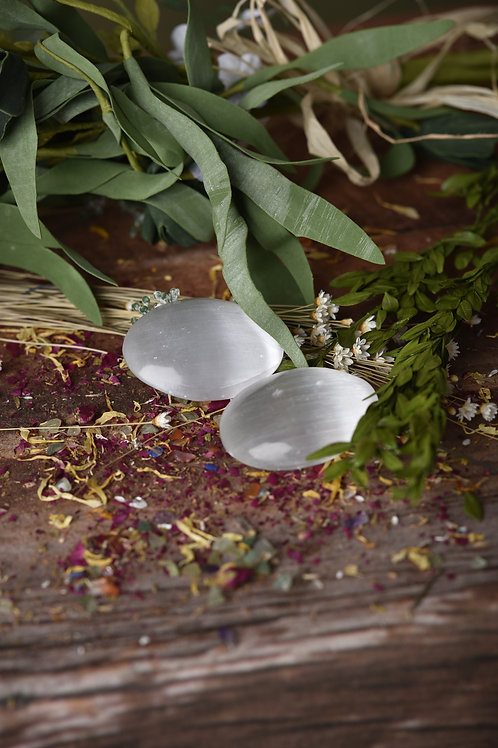 White Selenite Palm Stone