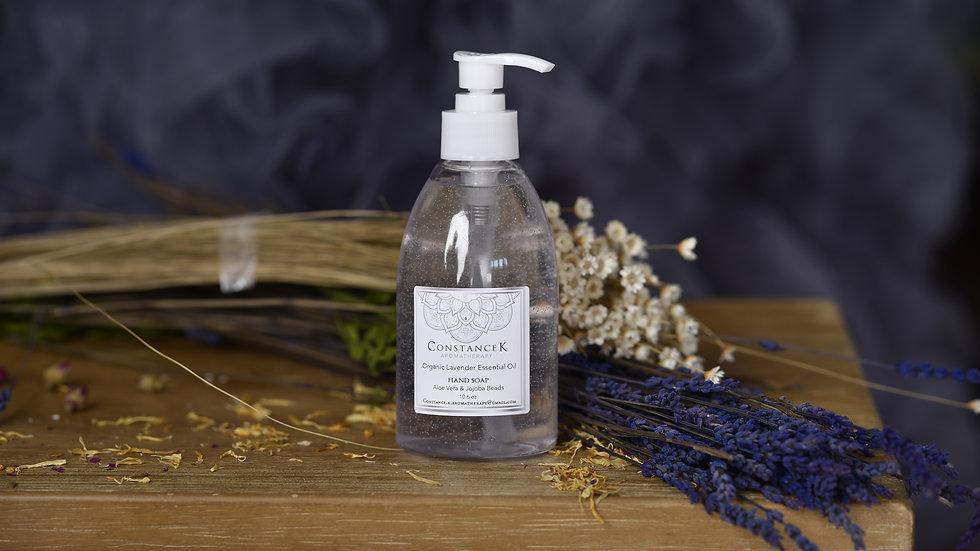 Organic Lavender Essential Oil Hand Soap with Aloe Vera & Jojoba Beads