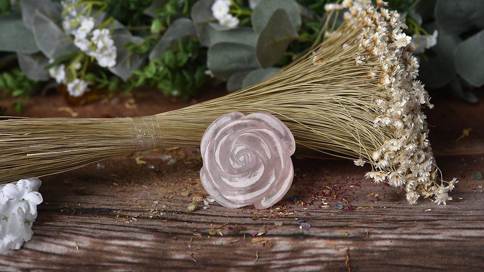 "Rose Quartz Flower Natural Stone ""Larger"""