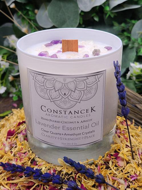 Lavender Organic Essential Oil - Energy Crystals with Amethyst+Clear Quartz