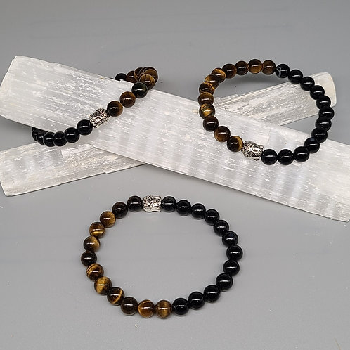 Tiger Eye & Black Tourmaline Bracelet