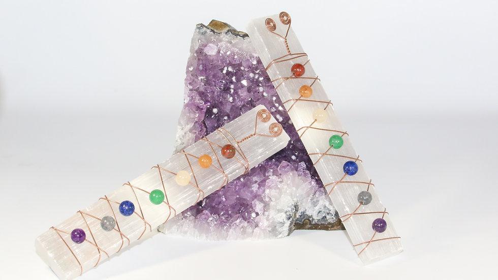 7 Chakra Selenite Wand With Gemstones