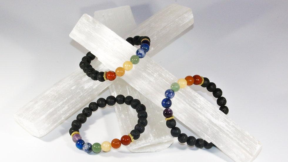 7 Chakra Lava & Gemstone Bracelet