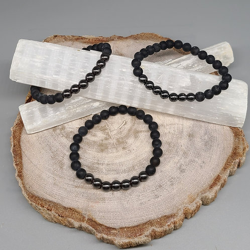Black Matte Onyx & Hematite Bracelet