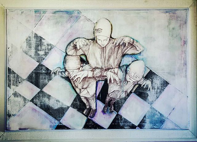 90 x 120 cm, mixed media on framed canvas