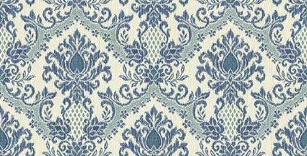 Wallpaper Waverly Blue Teal Damask on Eggshell White