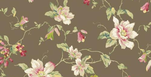 Wallpaper Traditional Magnolia Floral Vine on Brown Background