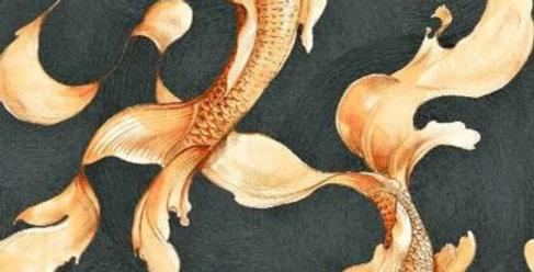 Wallpaper Designer Golden Orange Koi Fish on Black Faux