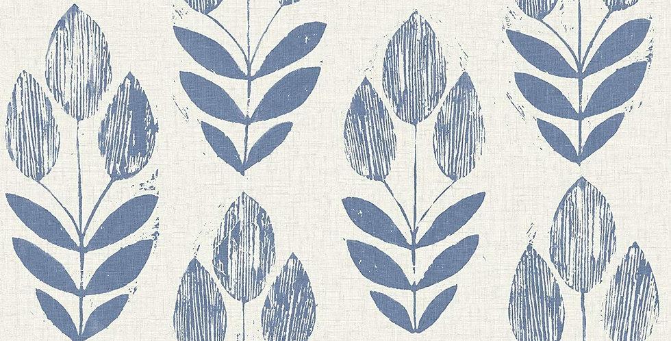 Wallpaper Scandinavian Block Print Tulip Leaves Blue on Beige White Faux