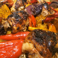One Pan Roast Chicken Thighs with Sweet Potato, Onions and Peppers