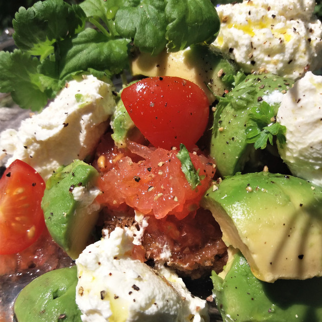 Labneh with Tomato and Avocado Toast -
