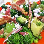 Summer Salad of Tendrstem Broccoli, Peas, Avocado, Crispy Pancetta and Feta Cheese
