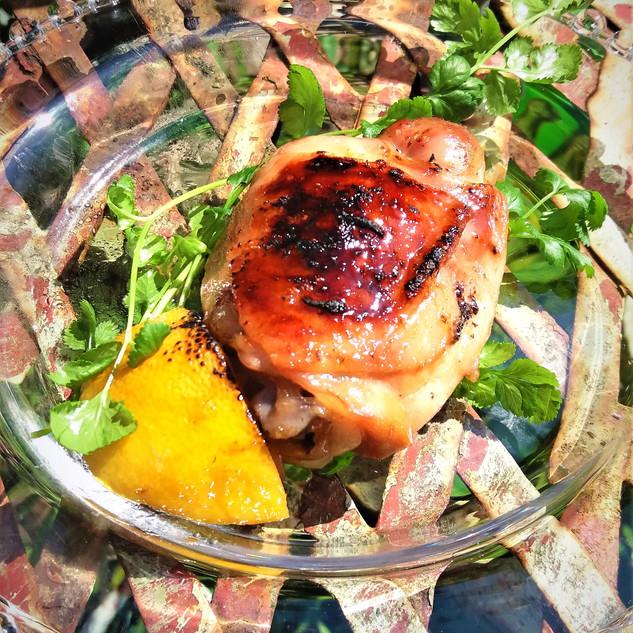 Burnished Chicken with White Wine, Honey