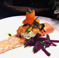 Roast and Smoked Salmon with Beetroot and Vodka Creme Fraiche
