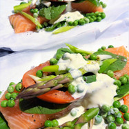 Parcel of Salmon with Asparagus, Peas and Boursin Sauce