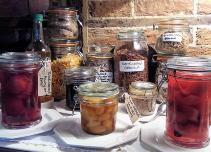Breakfast Cereals, Poached and Steeped Fruits at Tudor Cottage B&B