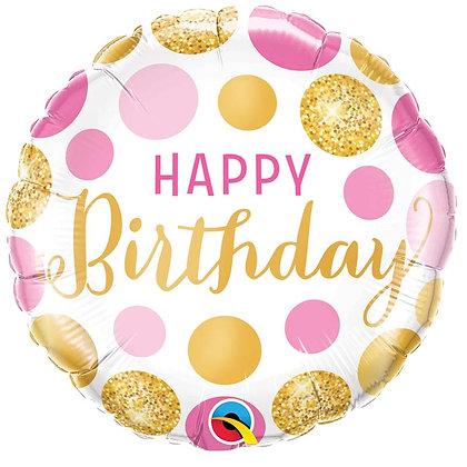 Ballon Aluminium 18″ Birthday Pink & Gold Dots – Qualatex