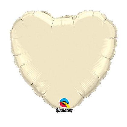 Ballon Coeur 18″ Ivoire – Qualatex