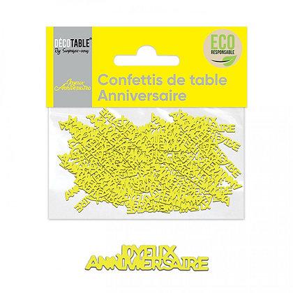 Confettis ANNIVERSAIRE papier Jaune
